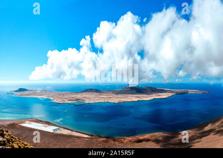 View to La Graciosa Island from Lanzarote, Canary Islands, Spain - Stock Photo