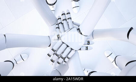 Rendering of three robots stacking hands, close-up - Stock Photo