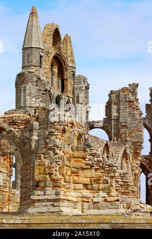 A section of the ruins of Whitby Abbey - Stock Photo