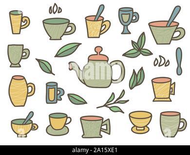 Tea stuff set in doddle style. Mugs and kettele. Hot beverage stuff. Vector illustration. - Stock Photo