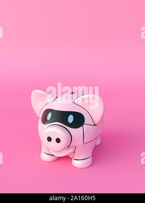 Rendering of pink robot piggy bank - Stock Photo