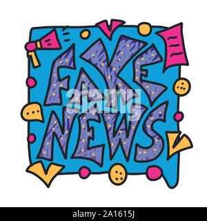 Fake news message and speech bubble. Banner design template with stylized phrase. Vector color illustration in doodle style. - Stock Photo