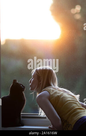 Black cat and woman in front of window at sunset - Stock Photo