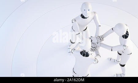 Rendering of three robots stacking hands - Stock Photo