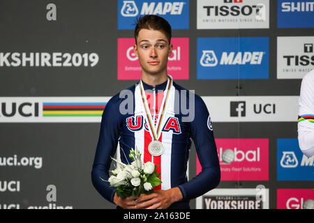 Harrogate, UK. 24th September 2019. Ian Garrison of the USA takes ilver in the 2019 UCI Road World Championships Mens Under 23 Elite Individual Time Trial. September 24, 2019 Credit Dan-Cooke/Alamy Live News - Stock Photo