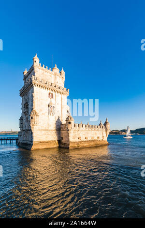 Portugal, Lisbon, Belem Tower on Tagus river - Stock Photo