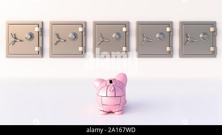 Rendering of pink robot piggy bank in front of vaults - Stock Photo