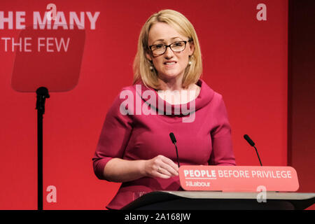 The Brighton Centre, Brighton, UK. 24th Sep, 2019. Hon Rebecca Long Bailey MP, Shadow Secretary of State for Business Energy and Industrial Strategy addresses the Labour Party Autumn Conference on Tuesday 24 September 2019 at The Brighton Centre, Brighton. Picture by Credit: Julie Edwards/Alamy Live News - Stock Photo