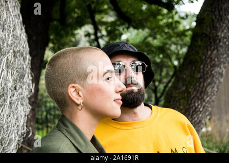 Portrait of italian indie music duo Come Cose (Francesca Mesiano, Fausto Lama) - Stock Photo