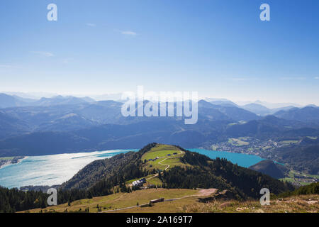 Scenic view of Watzmann mountain with lake against blue sky on sunny day seen from Schafberg Railway - Stock Photo