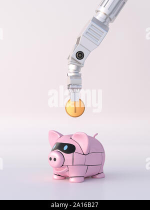 Rendering of robot hand feeding piggy bank with coin - Stock Photo