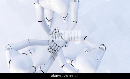 Rendering of three robots stacking hands