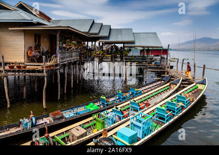 Tour Boats Moored Outside A Floating Restaurant, Nyaung Shwe, Lake Inle, Shan State, Myanmar - Stock Photo