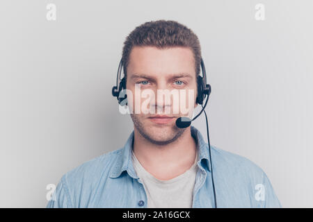 Portrait of confident calm handsome attractive man stand isolate - Stock Photo