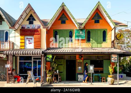 One Owl Grill Restaurant, Nyaung Shwe, Lake Inle, Shan State, Myanmar - Stock Photo