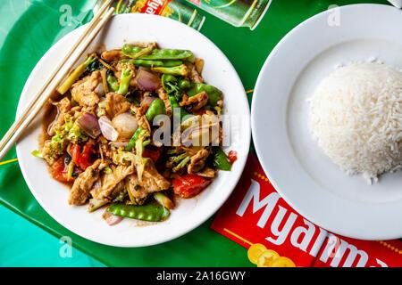 Typical Burmese Food, Nyaung Shwe, Lake Inle, Shan State, Myanmar - Stock Photo