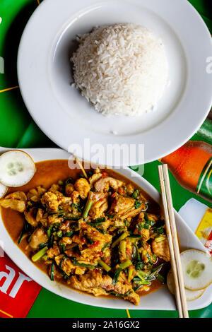Typical Burmese Food (Fish Curry and Rice), Nyaung Shwe, Lake Inle, Shan State, Myanmar - Stock Photo