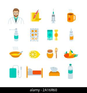 Cold and flu treatment icons. Flat vector concepts for flu season. Doctor's prescription, vaccine, pills, throat and nasal sprays, soup, lemon, vegeta - Stock Photo