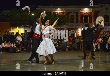 Dancing in the Plaza de Armas in Trujillo, Peru - Stock Photo