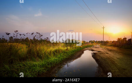Autumnal dirt road in the farmland field after rain; Autumn countryside Landscape; - Stock Photo