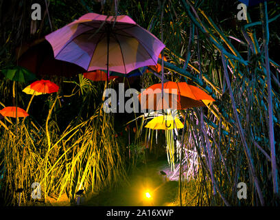Colourful umbrellas background. Colourful umbrellas in the sky. Street decoration. - Stock Photo