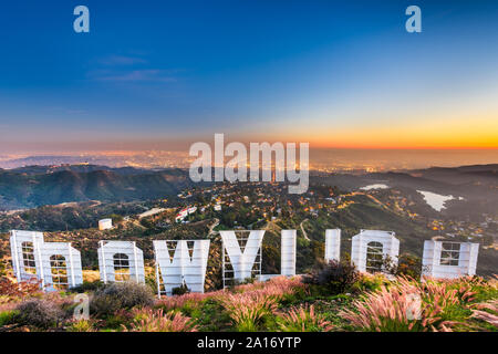 LOS ANGELES, CALIFORNIA - FEBRUARY 29, 2016: The Hollywood sign overlooking Los Angeles. The iconic sign was originally created in 1923. Stock Photo