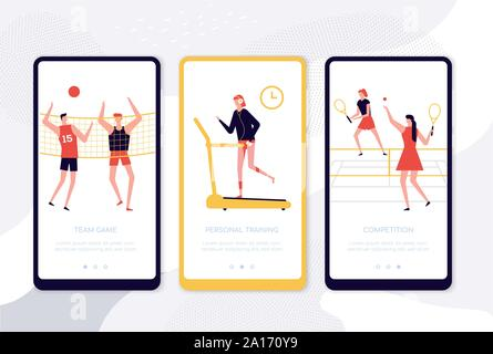 Sport activities - set of vector web pages - Stock Photo