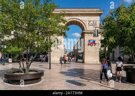 Darcy square and the arch of Port GuillaumeP Rue de la Liberte, Dijon, Burgundy, France, - Stock Photo