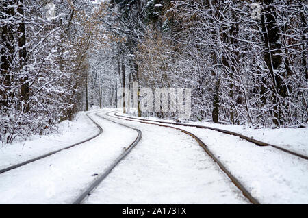 Tram tracks in winter snowy forest, covered with snow. Urban winter landscape - Stock Photo