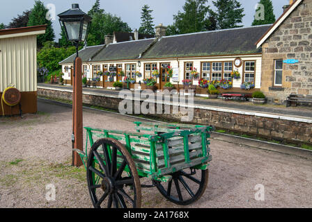 Platform at Boat of Garten Station in the Cairngorms National Park, Scotland, part of the historic Strathspey Railway - Stock Photo