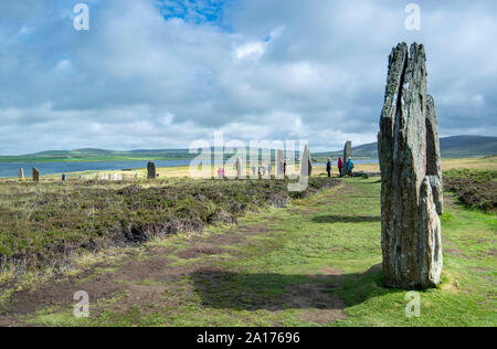 The Ring of Brodgar Neolithic henge and stone circle near Stromness on the Orkney Islands, Scotland, UK - Stock Photo