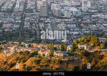 Hilltop view homes above downtown Glendale near Los Angeles in Southern California. - Stock Photo