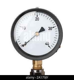 Front view of industrial pressure meter isolated on white - Stock Photo