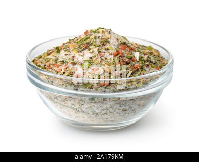 Bowl of mixed aromatic salt, spices and herbs isolated on white - Stock Photo