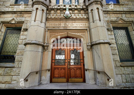 chicago water works ornate door entrance to the historic water tower pump house chicago illinois united states of america - Stock Photo