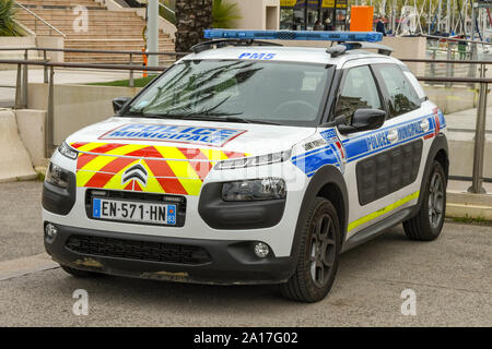 CANNES, FRANCE - APRIL 2019: Police patrol car parked in San Raphael on the French Riviera. - Stock Photo