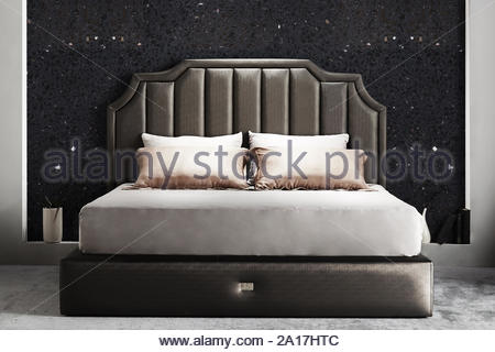 Modern bedroom interior design. Luxury bedrooms with bed, mattress, bed sheets and other furniture. - Stock Photo