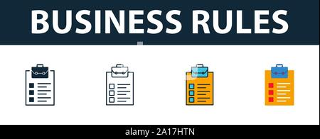 Business Rules icon set. Premium symbol in different styles from customer service icons collection. Creative business rules icon filled, outline - Stock Photo