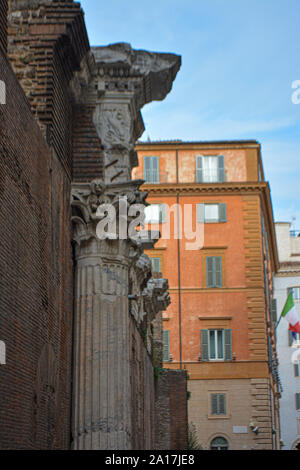 The Pantheon and the Fontana del Pantheon in Rome, Italy. The Pantheon's dome is still the world's largest unreinforced concrete dome.