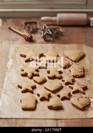 Freshly baked gingerbread cookies for Christmas - Stock Photo