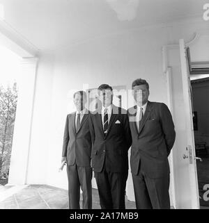 The Kennedy brothers: Attorney General Robert F. Kennedy, Senator Ted Kennedy, and President John F. Kennedy in 1963 - Stock Photo