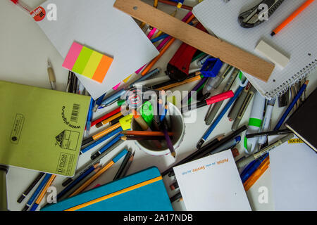 Vienna/Austria/ September 6, 2019: Back to school-School supplies for a fresh start - Stock Photo