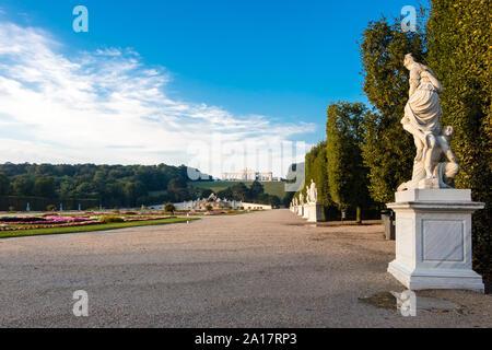 Vienna, Austria - September 3, 2019: Schonbrunn Palace with Great Parterre garden in Vienna, Austria - Stock Photo