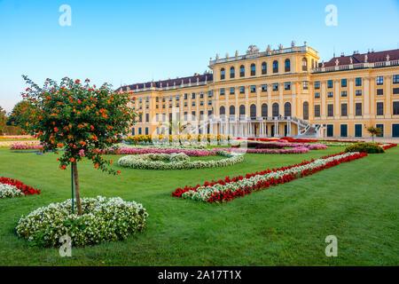 Vienna, Austria - September 3, 2019: View on Schonbrunn Palace and park in Vienna, Austria - Stock Photo