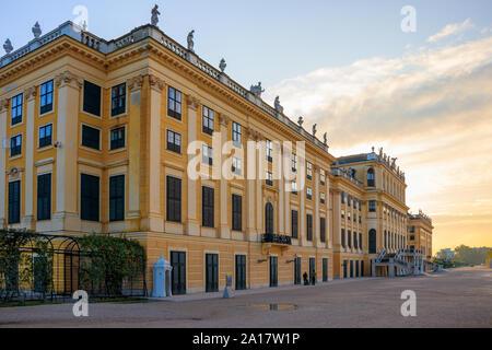 Vienna, Austria - September 3, 2019: Morning view on Schonbrunn Palace with dramatic sky, Vienna, Austria - Stock Photo