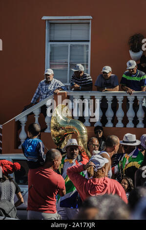 BoKaap residents turnout for Prince Harry and Meghan Markle visit to Cape Town's historical muslim and slave quarter in South Africa - Stock Photo