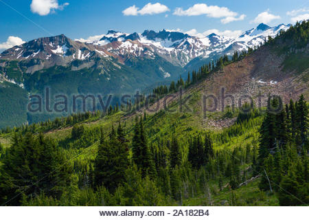 Looking South towards the rugged Goat Rock peaks in the Goat Rocks Wilderness, Gifford Pinchot National Forest, Yakima County, Washington, USA - Stock Photo