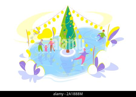 Ice skating people on Ice rink with Christmas tree. Snowy winter holidays concept. Seasonal Flat template on white background. Christmas holiday card. Isolated vector illustration on white background. - Stock Photo