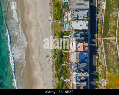 Aerial top view of Salt Creek and Monarch beach coastline. Small neighborhood in Orange County City of Dana Point. California, USA. Aerial view of wealthy villa and coastline.  - Stock Photo