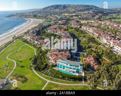 Aerial view of little park at Monarch beach coastline. Small neighborhood in Orange County City of Dana Point. California, USA. - Stock Photo